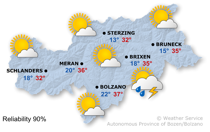Forecast for today, wednesday 24/07/2019