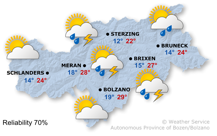 The weather today, 21.08.2019